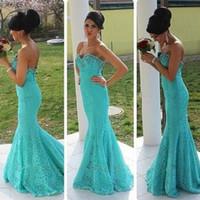Новое прибытие Русалка милая бирюзовый синий кружева платье выпускного вечера с кристаллами длинное платье партии Vestidos Largos де феста на заказ