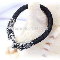 3 Taille cuir tibétain argent hommes bracelet titane mode vintage bijoux accessoires parataxis dragon bracelet hommes bijoux