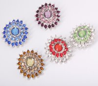 10PCS Lot New Colorized Rhinestones Sun Flower Metal Snap Bu...