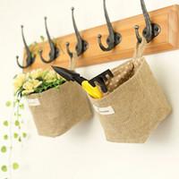 Wholesale Zakka style storage box jute with cotton lining sundries basket mini desktop storage bag hanging bags 20pcs/lot