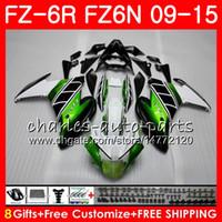 Cuerpo para YAMAHA FZ6N Verde negro FZ6 R FZ-6N FZ6R 09 10 11 12 13 14 15 82NO27 FZ-6R FZ 6N FZ 6R 2009 2010 2011 2012 2013 2014 2015 Carenado