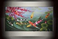 100% artesanal Wall Art Décor Abstract pintura a óleo da flor de cereja Feng Shui Koi pintura em tela Modern Home Decor para viver Fsh1001
