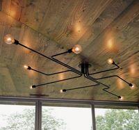 Foyer Yemek Odası Kolye Lambaları Restoran Demir Kol Retro Endüstriyel Loft Tavan Lambası Klasik Modern Siyah Vintage Işık