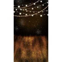 Impreso digital Bombillas Brillantes Brillo Estrellas Noche Fotografía telones de fondo Vinilo Niños Niños Foto Fondo Marrón Piso de madera