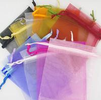 200pcs 7x9 cm Sac organza Mariage Favora Sacs cadeaux de fête d'enveloppe 15 couleurs pour sélectionner Nouveau