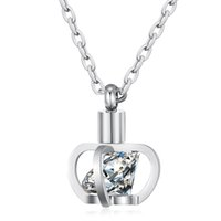 Clear Cubic Zirconia Ornate Crown Pendant Stainless Steel Necklace