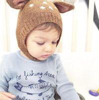 جديد الخريف الشتاء لطيف الرضع طفل الكرتون الغزلان آذان قبعة الاطفال محبوك قبعة الفتيات الأولاد الدافئة بيني الطفل الأطفال الرضع القبعات M73