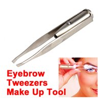 Hot Sale Make Up Led Light Hair Eyebrow Tweezers Eyelash Fac...