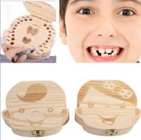 아기 저장 우유 치아 어린이 여행 키트 기념품 기념품 KKA2813에 대한 소년 소녀 나무 스토리지 박스 창조적 인 선물을위한 치아 상자