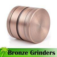 Neueste Bronze Grinders 4 Stück Tabak Grinder 63mm Durchmesser Deluxe Aluminium Grinders Kräuter Gewürz Crusher Magnetic Cover Großhandel Grinders