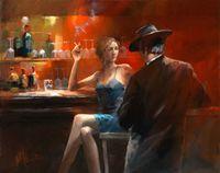 Wall-art sigarenbar vrouw en mannen, pure handgeschilderd moderne pop-art olieverfschilderij op canvas.Multi maten, woonkamer kantoor hotel decor