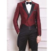Venta al por mayor- (chaqueta + pantalón + bowtie + pañuelo) golondrina de cola de cola moda trajes de hombre personalizado homme terno slim fit blazer hombre traje