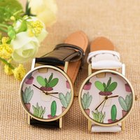 Fashion Design women watches Cactus potted plants pattern Lu...