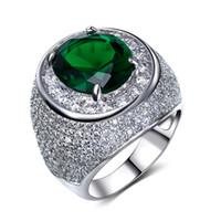 아주 좋은 반지와 빠른 배송! 큰 녹색 / 맑고 푸른 돌 크리스탈 반지와 18K 골드 반지 지르코니아 보석 럭셔리 손가락 반지