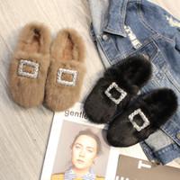 Осень и зима действительно кролик волос плоский набор с ленивыми шлепанцы и плюшевые открытый заголовок плюшевые тапочки обувь