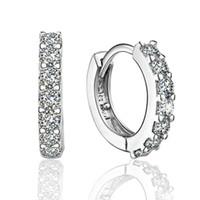 Zirkon ile 925 ayar gümüş küçük hoop küpeler moda takı nişan hediye kadınlar için ücretsiz kargo İyi kalite