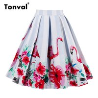 Wholesale- Tonval Pleated Skirts Womens Summer Flamingo Swin...