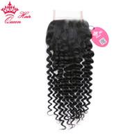 Queen Hair 100% Brasileño Virgin Human Hair 4x4inch Free Part Parte Cierre 10-20inch Tejido profundo Rizado 8A Grado DHL envío rápido
