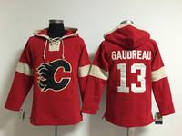 Jersey de hockey jeunesse pas cher, Calgary Flames Hoodie 5 Mark Giordano 13 Johnny Gaudreau Kids 100% cousu Broderie Logos Sweats à capuche Sweatshirts