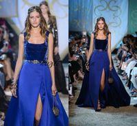 Kraliyet Mavi Kadife Leke Akşam Pageant Elbiseler 2018 Mütevazı Elie Saab Kare Bölünmüş Kabarık Dubai Arapça Overskirt Balo Parti Elbise