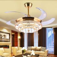 Charmant Moderne LED Luxus 52 Zoll Unsichtbare Einziehbare Kristall  Deckenventilatoren Mit Beleuchtung Schlafzimmer Falten Deckenventilator  Lampe Fernbedienung