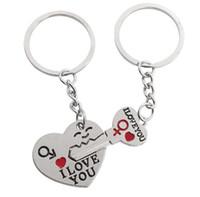 Porte-clés Couple plaqué argent, coeur, coeur, Cupidon, porte-clés, mode