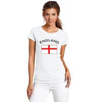 Novo 2016 Taça Da Europa Inglaterra Fãs Cheer Bandeira Camisetas Futebol Esportes de Fitness Ginásio Bandeira Nacional Top Tees Camisas Para As Mulheres
