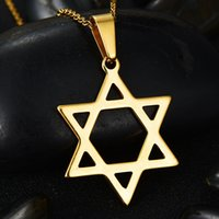 Star Of David Pendant Necklace Jewelry Stainless Steel Gold ...
