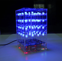 3D Light Cube kit 4x4x4 Squared Blue Spectrum LED Electronic...