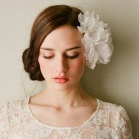 White Hair Accessories silk organza flower Wedding Brides Ac...