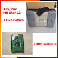 12v / 24v MB Star C3 Tam Set 5 Kablolar Otomatik Teşhis aracı MB C3 HDD ile 2015.07 MB Yıldız C3 Arabalar ve kamyonlar için Destek