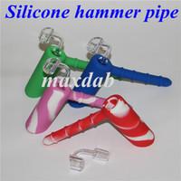 18mm joint silicone marteau pipe à eau en silicone tuyaux à la main avec 4mm d'épaisseur banger quartz incassable tabac narguilé bongs