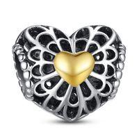 925 Sterling Silber Charm Openwork Gold Hearts European Floating Charms Perle Fit Pandora Schlange Kette Armband DIY Schmuck