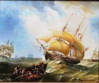 Framed OLD SAILING WARSHIP IN THE STORM SEA Free Shipping Pe...