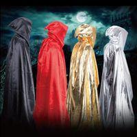 2017 Capa de Hechicero 4 color Traje de Halloween cosplay Teatro Prop Death Hoody Cloak Devil Largo Tippet Cape Free FedEx DHL