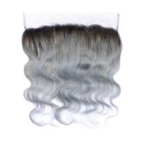 1b / серый Ombre малайзийский человеческих волос тела волна 13x4 уха до уха кружева Фронталы с волосами младенца серебристо-серый Ombre кружева фронтальной закрытия