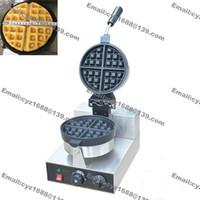 Envío gratuito el uso comercial antiadherente 110v 220v eléctrica rotativa Ronda belga Wafflera Hierro Máquina de Baker