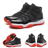 Wholesale 2018 New 11 Bred True Red Black Space Jams Men Bas...