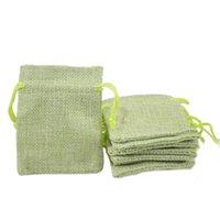 Satılık 7x9 cm Hessian çanta Sahte Jüt İpli Takı Çanta Şeker Boncuk Küçük Torbalar Çuval Bezi Boş Keten Kumaş Hediye ambalaj çanta Yeşil