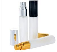 Toptan 600 adet / grup Buzlu Cam 10 ml 1/3 oz Sprey Boş Şişe kokulu sıvı Ince sis pompa Parfüm Atomizer Doldurulabilir