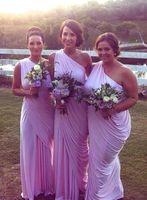 Arabski jeden ramię plus rozmiar wiejski sukienki druhna liliowa długa szyfonowa pokojówka honorowa suknia gości sukni