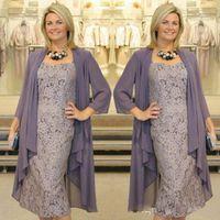 Mãe do comprimento do chá dos vestidos da noiva com jaquetas de chiffon 2 peças vestidos da mãe do laço com venda quente de Bolero