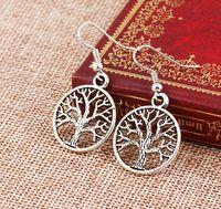 2016 Moda donna Orecchini pendenti in argento 925 pesce orecchio gancio lampadario orecchino argento antico albero della vita ciondola gli orecchini
