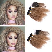 Dark Root Mongolian Ombre Human Hair #1B 27 Kinky Curly Hair...