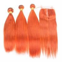 실키 스트레이트 처리되지 않은 인간의 머리카락 3 묶음 상위 마감으로 인기있는 오렌지 색상 브라질 처녀 인간의 머리카락은 레이스 클로저로 엮어 낸다.