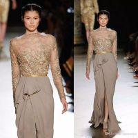 Ellie Saab 섹시한 프론트 스플릿 이브닝 드레스 긴 소매 레이스 Applique 2017 Sequins Prom 가운 Ruched 빈티지 긴 레드 카펫 드레스