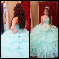 2018 Mint Green Ball Robe Filles Quinceanera Robes Puffy Organza Corset Retour Cristaux Plus La Taille Vestidos De 15 Anos Debutante Robes