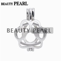 5 Pieces Bear Paw Pendant Cage Gift Wishing Pearl 925 Sterli...