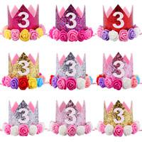 Hot New Baby 3e Anniversaire Brillant Parti Couronne Artificielle Rose Et Crémeux Rose Fleurs Tiara Bandeau HJ150