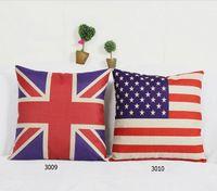 Vários de bandeiras Britânicas e Americanas Travesseiro Capa Dos Desenhos Animados Composto de Linho Scatter Caso Almofada 42x42 cm